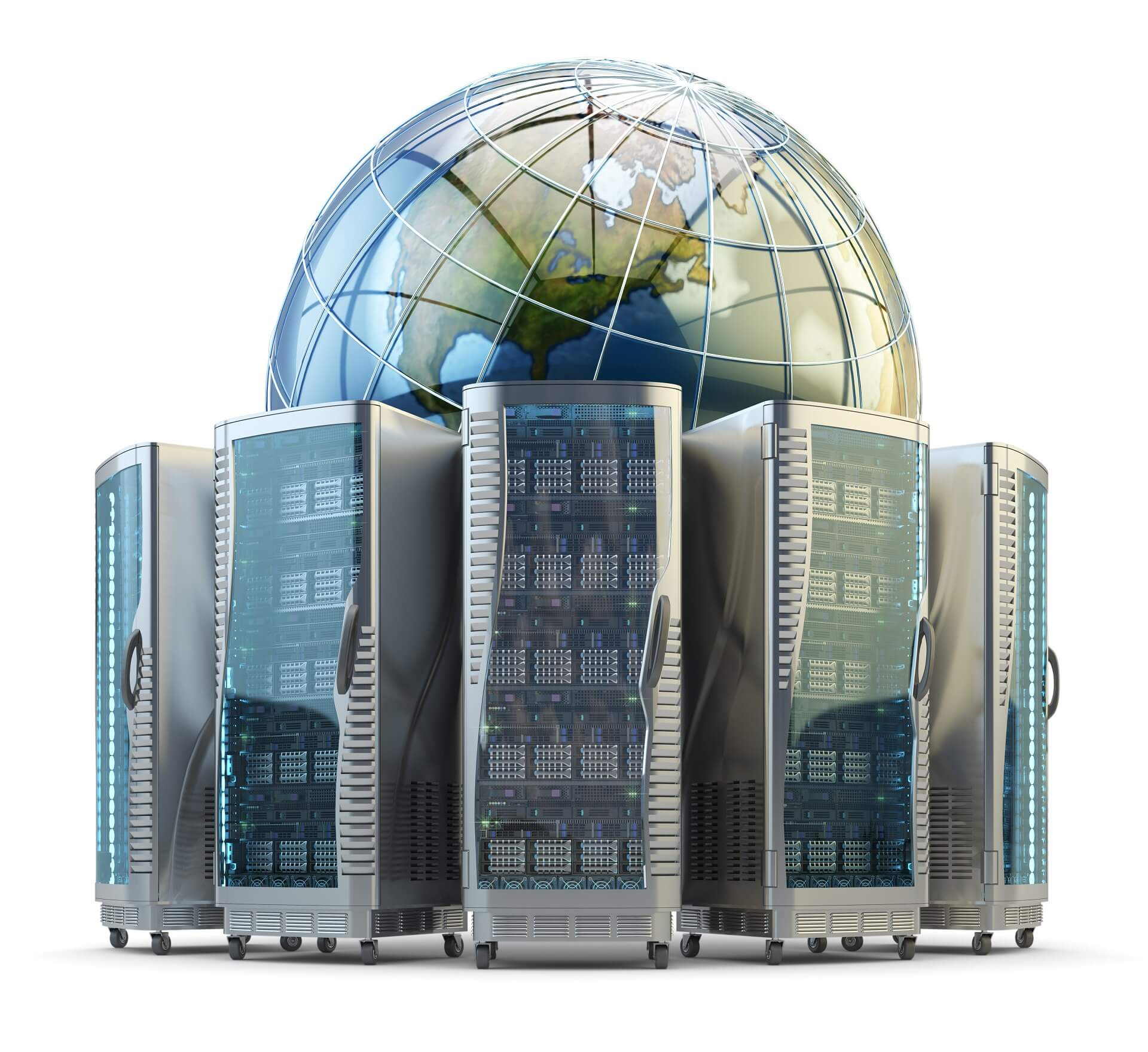 internet-and-computer-network-technology-global-data-storage-concept-server-racks-with-telecommunication-equipment-around-the-earth-globe-isolated-on-white