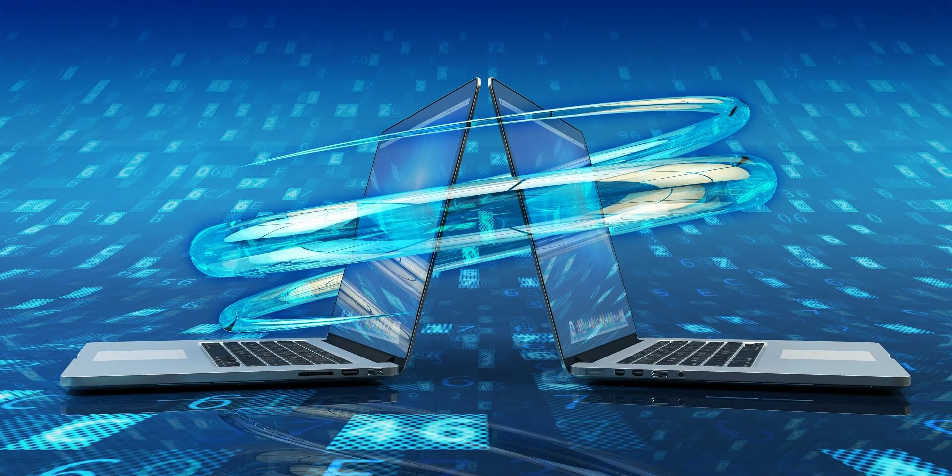 data-sync-process-computer-connection-and-communication-technology-concept-modern-laptops-on-blue-background-with-digital-data